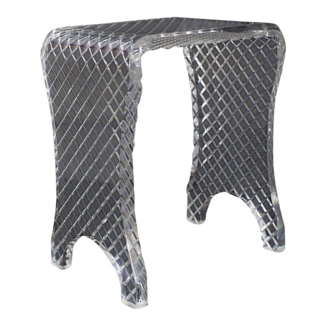 Diamond Cut Bent Lucite Piano Bench Stool For Sale