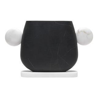Italian Vase in Black Marquinia and White Michelangelo Marbles by Matteo Cibic For Sale