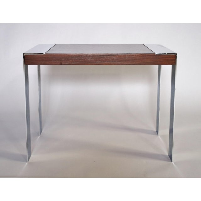 1970's Milo Baughman rosewood and polished chrome side or end table.