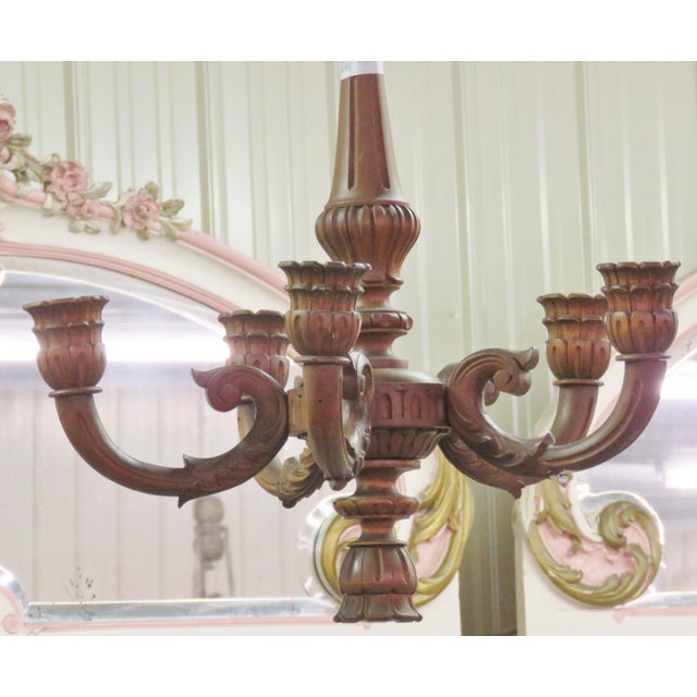 Carved Walnut Wooden Chandelier - Image 2 of 5