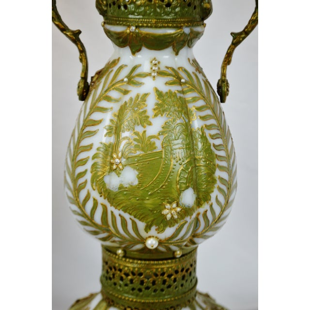 Vintage Hand Painted French Opaline Glass Table Lamps - a Pair For Sale In Philadelphia - Image 6 of 13