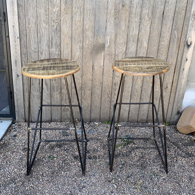 Black Modern Kalalou Rustic Wood and Metal Bar Stools- a Pair For Sale - Image 8 of 13