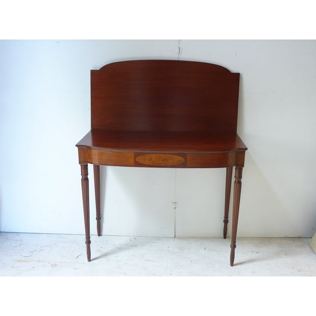 Late 19th Century 19th Century Early American Mahogany Demi-Lune Card Table For Sale - Image 5 of 8