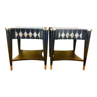 1960s Mid-Century Modern Navy Blue Geometric Side Tables - a Pair