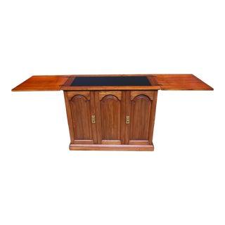 Vintage Pennsylvania House Cherry Flip Top Rolling Server Buffet Bar Cabinet For Sale