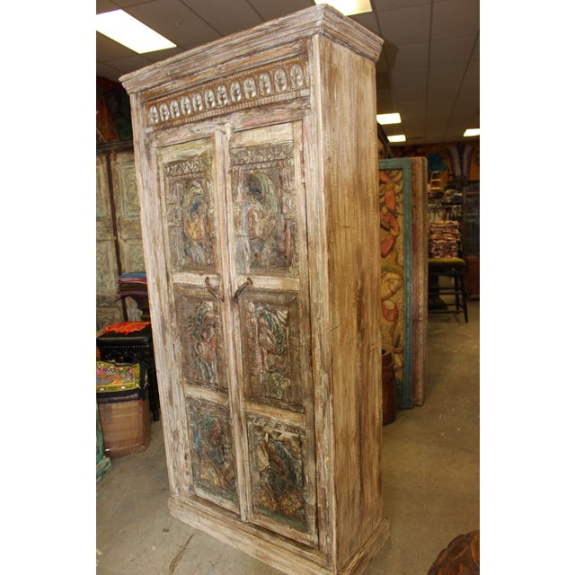 Asian Vintage Indian Architectural Remnant Wooden Wardrobe Armoire For Sale - Image 3 of 5