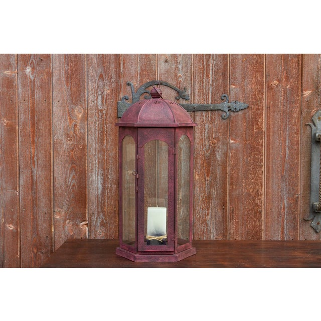 Magenta Ruby Acanthus Glass Lantern For Sale - Image 8 of 8