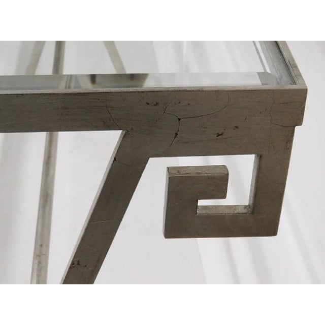 Pair of Mid Century Modern Silvered Glass Top Console Tables For Sale - Image 4 of 5