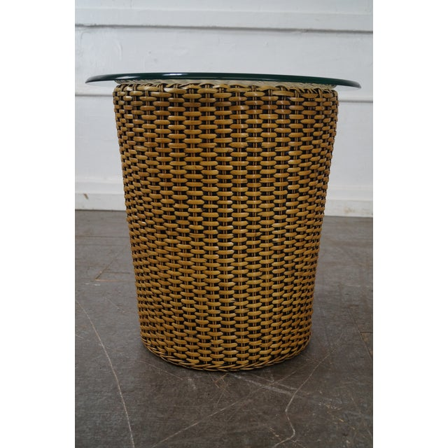 Boho Chic Woven Wicker Wrapped Cylinder End Tables - A Pair For Sale - Image 3 of 10
