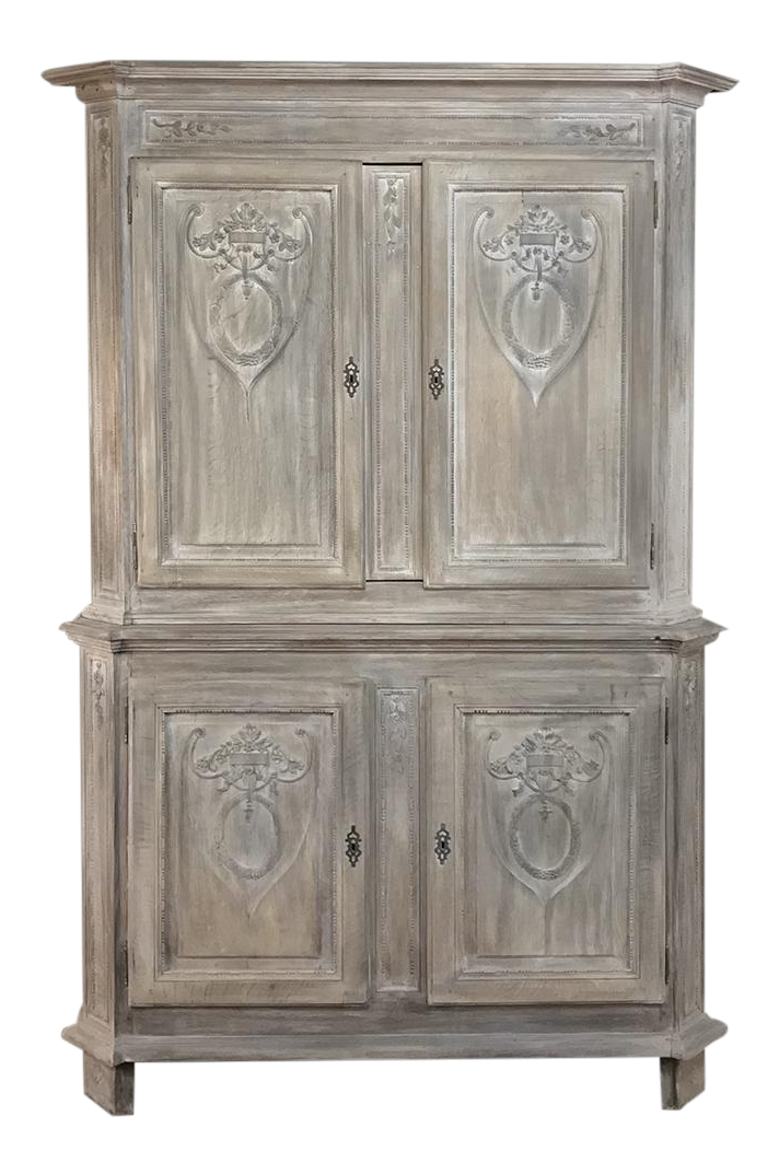 19th Century Country French Louis XVI Stripped Buffet A Deux Corps For Sale