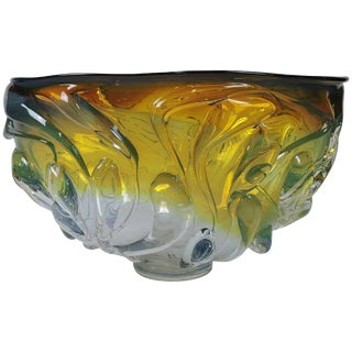 Will Dexter Signed Monumental Art Glass Drip Bowl For Sale