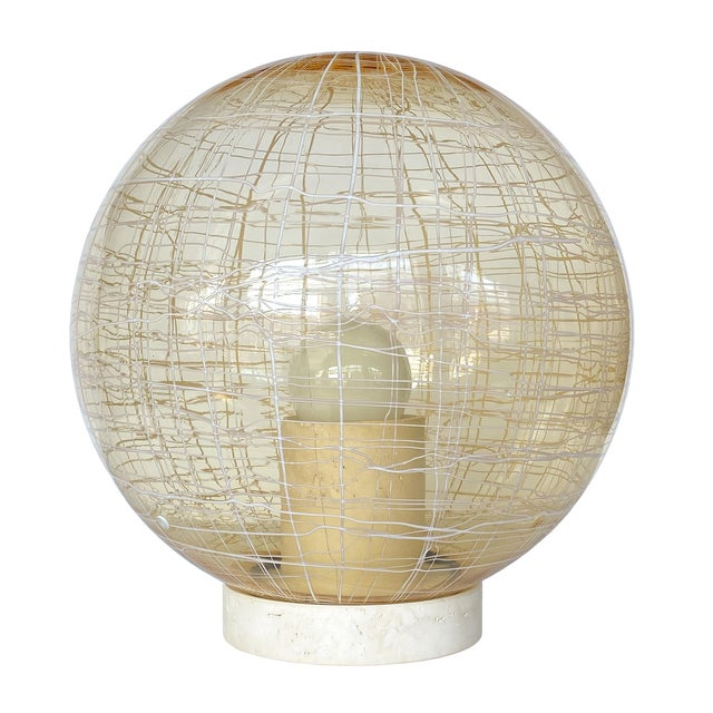 La Murrina Pale Yellow Globe and Travertine Table / Floor Lamp For Sale