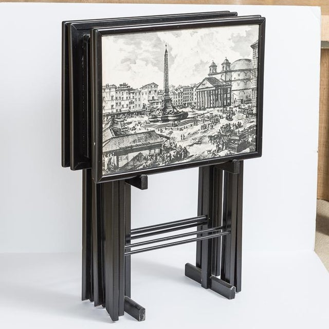1950s Folding Tray Tables Set With Scenes From Rome, Italy in Black & White, Set -4 For Sale - Image 5 of 10