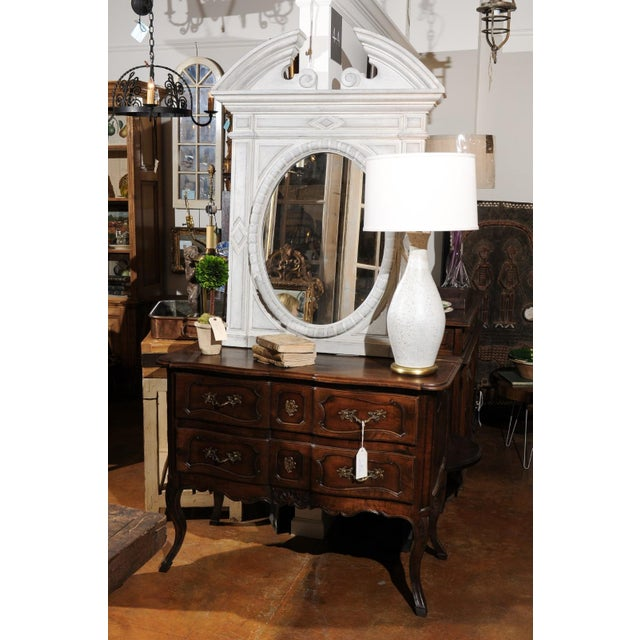 Wood Renaissance Style 1850s Belgian Painted Oval Mirror with Broken Arch Pediment For Sale - Image 7 of 12