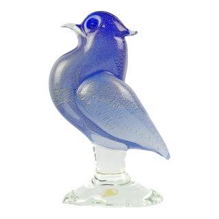 Archimede Seguso Murano Cobalt Blue Gold Flecks Italian Art Glass Mid-Century Bird Sculpture For Sale