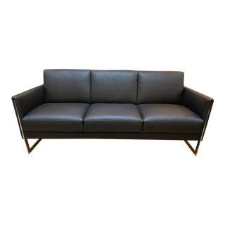 Cantoni Capri Black Leather Sofa For Sale