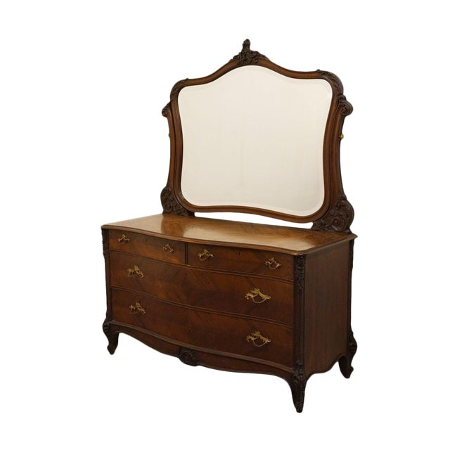 1920s Antique Louis XVI Bookmatched Mahogany Dresser with Mirror For Sale