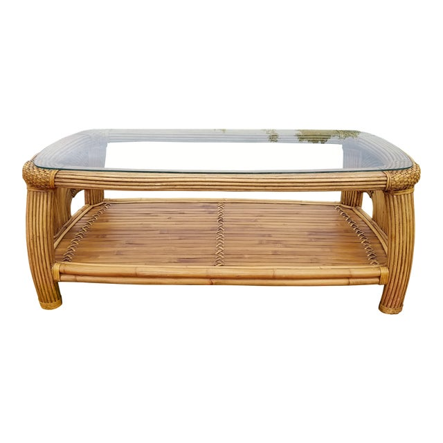 Mid Century Pencil Reed and Rattan Bamboo Glass Top Coffee Table For Sale