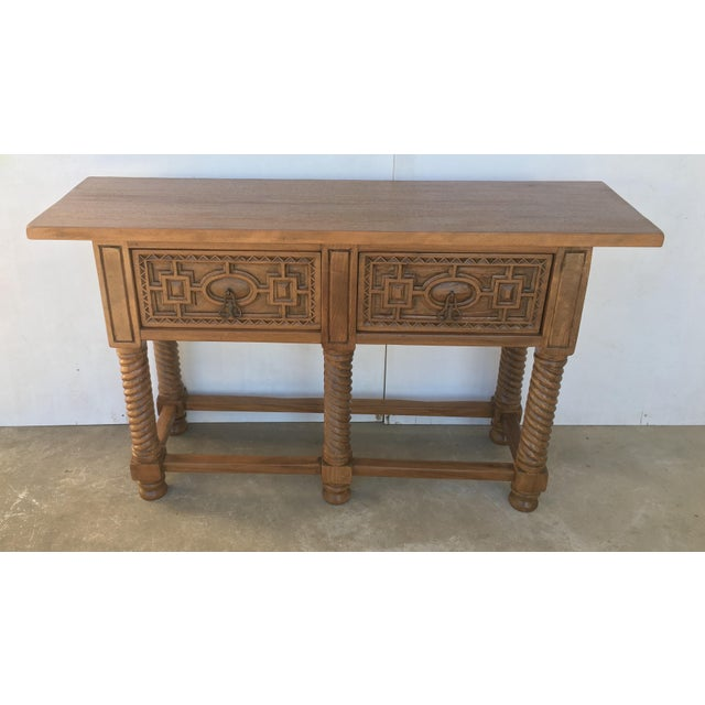 Early 19th Century Carved Walnut Wood Catalan Spanish Console Table For Sale In Miami - Image 6 of 13