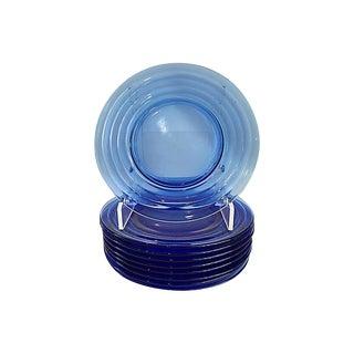 Vintage Cobalt Glass Plates - Set of 9