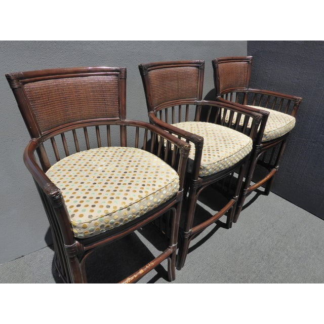 Rattan Vintage David Francis Tradewinds Tiki Palm Beach Rattan Bar Stools - Set of 3 For Sale - Image 7 of 12