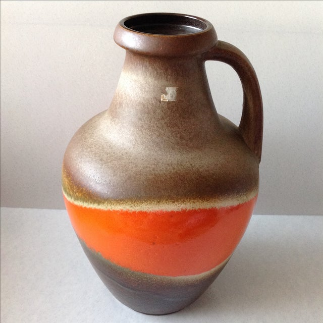 Orange and Brown Fat Lava Floor Vase For Sale - Image 9 of 11