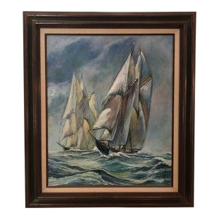 1973 Signed Oil Sailboat Painting