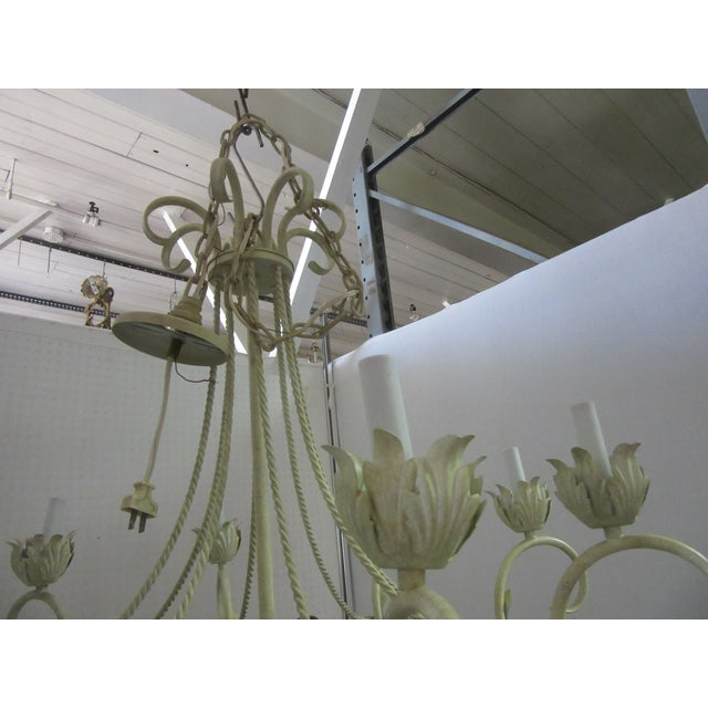 Shabby Chic 1950s White Bird Cage Shaped 8 Light Chandelier With Brass Accents For Sale - Image 3 of 6