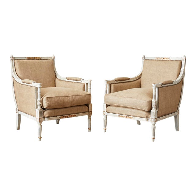 Pair of Louis XVI Swedish Gustavian Style Bergère Armchairs For Sale