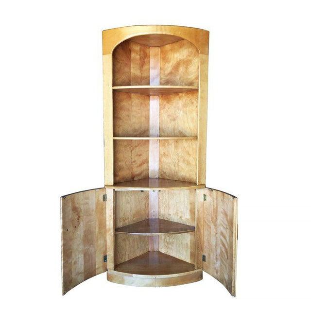 Heywood-Wakefield Blonde Streamline Maple Corner Cupboard Cabinet - Image 2 of 8