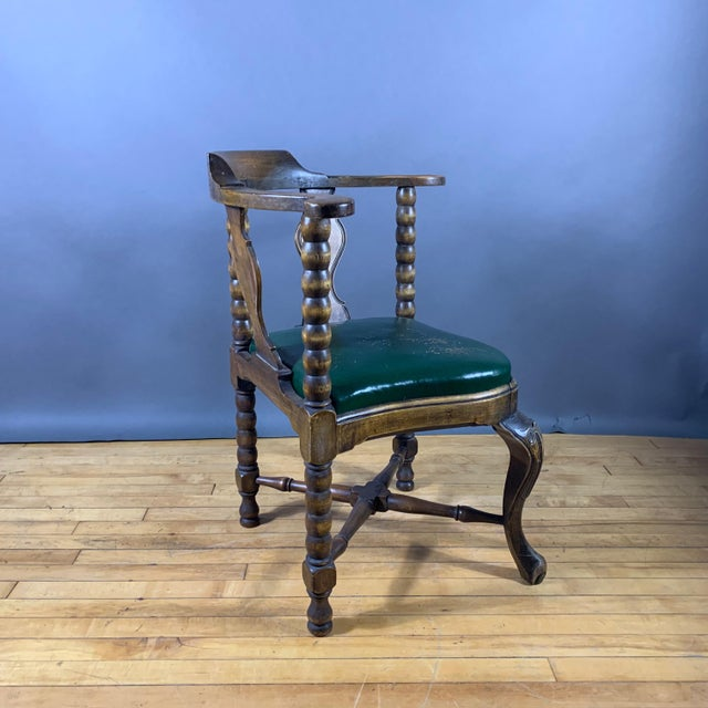 Late 19th Century Continental Corner Chair, Green Leather For Sale In New York - Image 6 of 10
