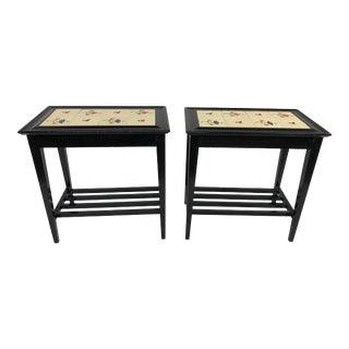 Vintage Tile Top Wood Side Tables - a Pair For Sale