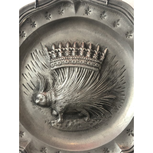 French Vintage French Pewter Plate With Porcupine Motif For Sale - Image 3 of 5