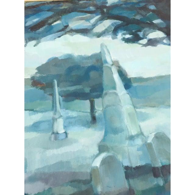 Vintage Original Blue Abstract Landscape in Frame - Image 7 of 7