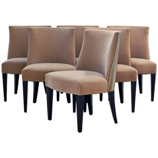 Modern Holly Hunt for Holly Hunt Studio Sand Upholstery Crescent Dining Chairs - Set of 6