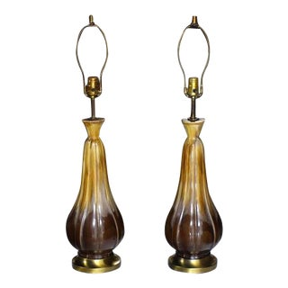 Pair of Mid Century Modern Glazed Brown Pottery Table Lamps For Sale