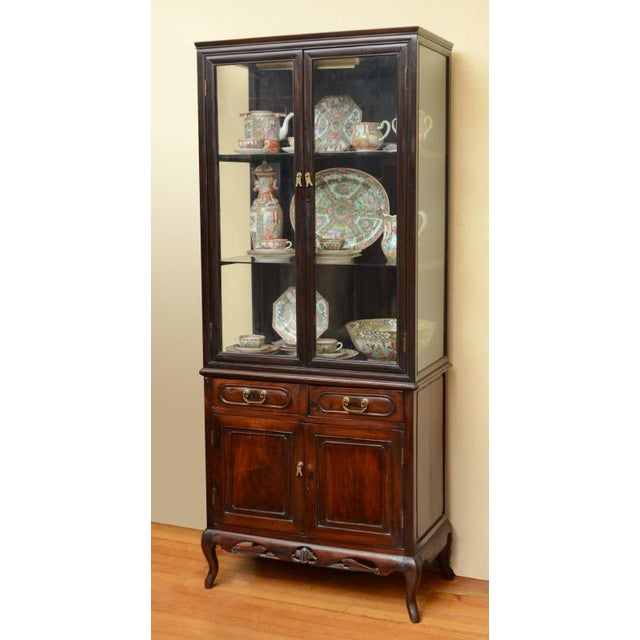 Brass Antique Chinese Blackwood Display China Cabinet/Cupboard/Hutch For Sale - Image 7 of 7