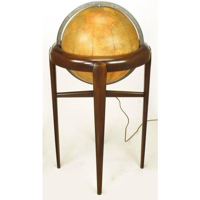Replogle Illuminated Glass Globe on Mahogany Articulated Stand, circa 1940s - Image 4 of 10