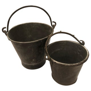Heavy Tarnished Brass Pair of Old Buckets or Pails For Sale