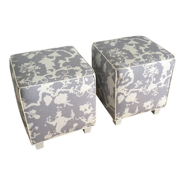 Chinoiserie Schumacher Cube Ottomans - a Pair For Sale