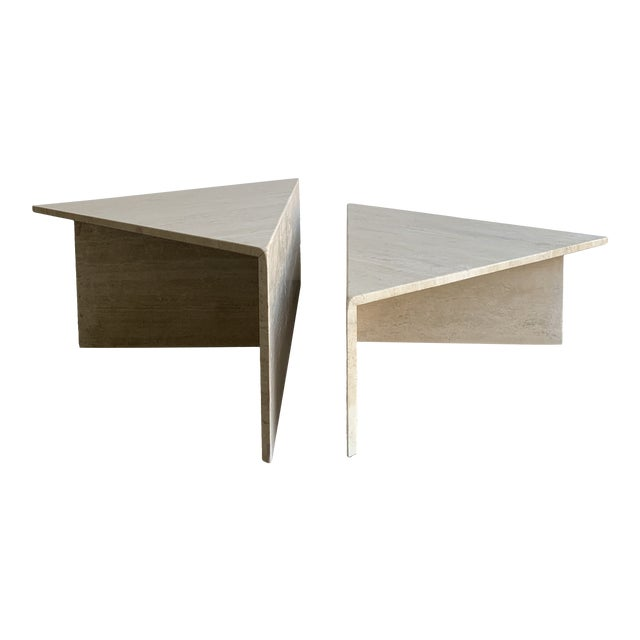Travertine Triangular Coffee Tables-A Pair For Sale