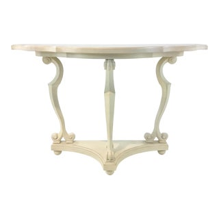 Celerie Kemble for Henredon Transitional Ivory Demi-Lune Console Table For Sale