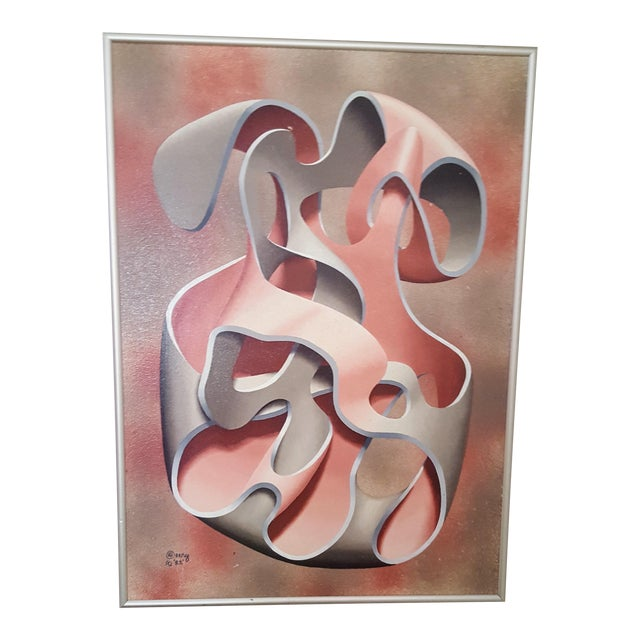 Pink & Grey Abstract Oil Painting - Image 1 of 4