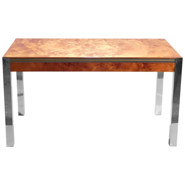 Willy Rizzo Burl Chrome Brass Dining Table, 1970s For Sale
