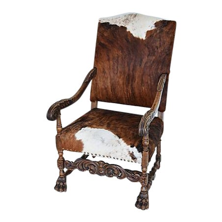 Antique Carved Oak & Cowhide Throne Armchair - Image 12 of 12