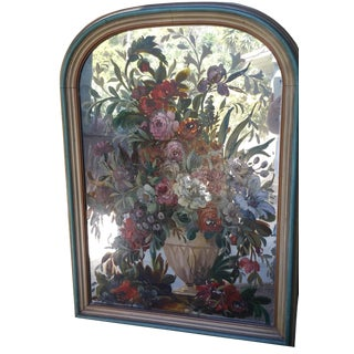 Antique Floral Painted Glass Mirror For Sale