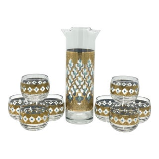 Mid Century Culver Seville 22k Gold and Turquoise Cocktail Set - 9 Pieces For Sale