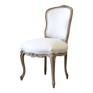Vintage Mid-Century Louis XV Style Carved Wood and Linen Upholstered Chair For Sale