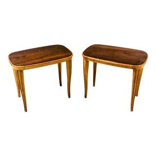Italian African Mahogany &Satinwood Side Tables - a Pair For Sale