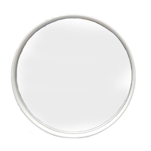 Round Mid-Century Modern white wall mirror. The core of this elegant mirror is bentwood and it has a firm hook to hang it....